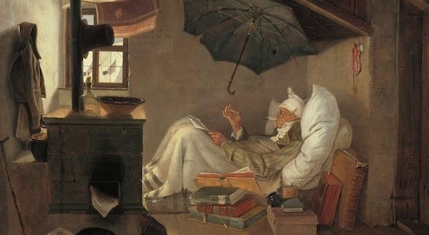 Der arme Poet von Carl Spitzweg (1839). Zu sehen in der Alten Pinakothek in München.