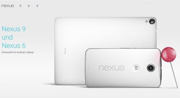 Das  neue Tablet Nexus 9 und  das Smartphone Nexus 6, entwickelt für das Betriebssystem  Android Lollipop (Screenshot von der Google-Webseite)