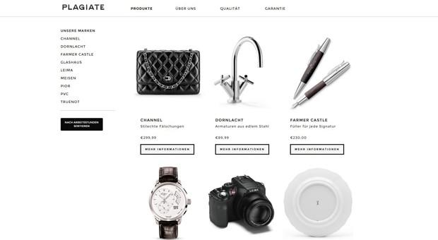 Screenshot der Webseite www. plagiate-shop.de: Sie ist Teil einer großen Informationskampagne gegen Produkpiraterie.