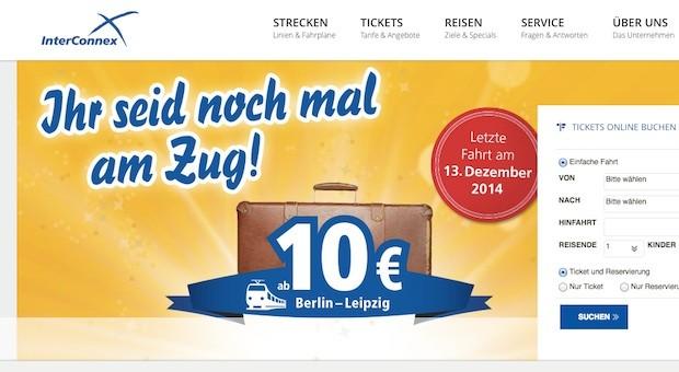 """""""Ihr seid noch mal am Zug"""": Auf seiner Website verkauft Interconnex schon Tickets für die letzte Fahrt."""