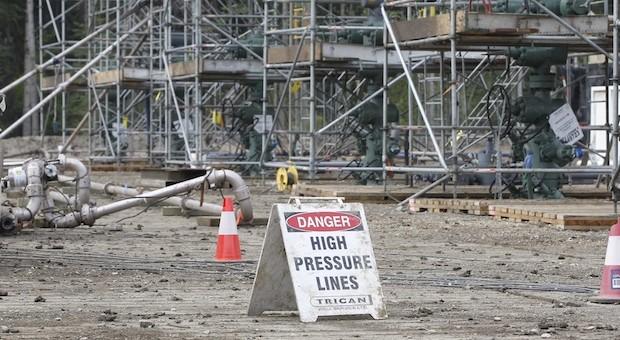 Eine Frackingbohrstelle un in Dawson Creek, USA.