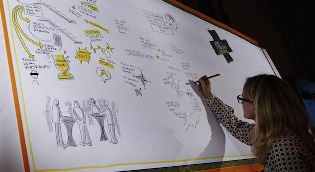 Graphic Recording: Martina Grigoleit hielt die wichtigsten Punkte der impulse-Konferenz als Comic fest.