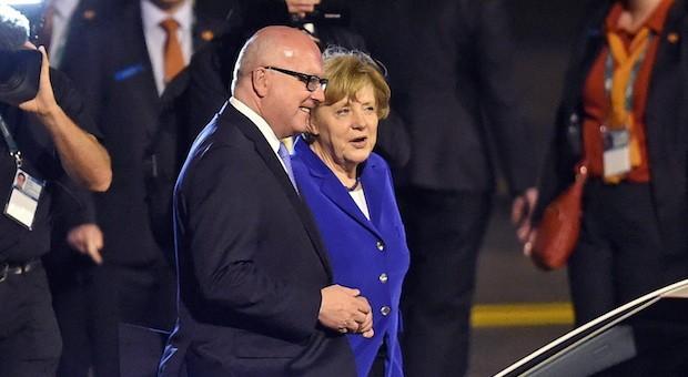 Bundeskanzlerin Angela Merkel bei ihrer Ankunft in Brisbane.