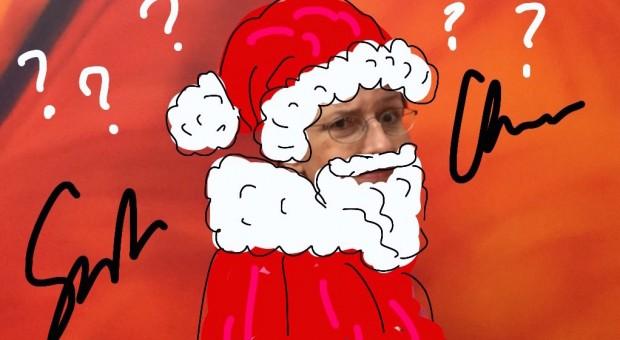"""Weihnachtspost als kreatives Versteckspiel: Hier Béa Beste als Weihnachtsmann verkleidet, umgeben von ihrem """"Ffoup""""."""