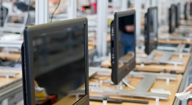 Produktion von Fernsehgeräten von Metz am Firmensitz in Zirndorf (Bayern), hier ein Bild aus dem Jahr 2012.