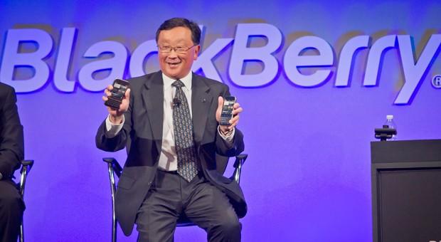 BlackBerry-Chef John Chen bei der Vorstellung neuer Modelle Mitte Dezemmber 2014 in New York.