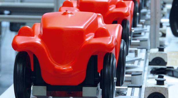 Bobby-Car-Produktion in Burghaslach.