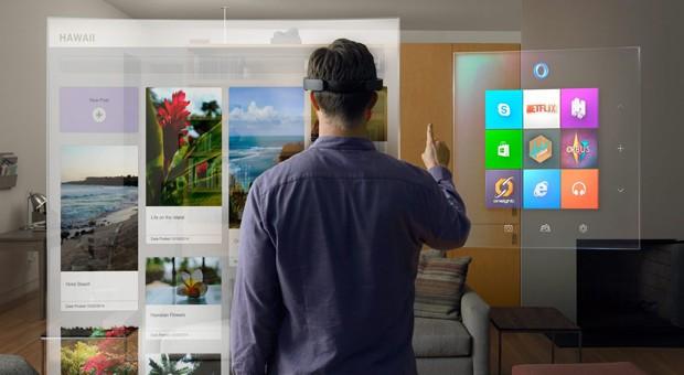 """Die neue  Computer-Brille """"HoloLens"""" von MIcrosoft sorgte für Staunen in der Redmonder Konzernzentrale."""