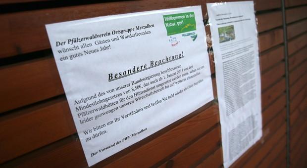 Wegen des Mindestlohns geschlossen: die Gräfensteinhütte im Pfälzer Wald bei Merzalben (Rheinland-Pfalz).
