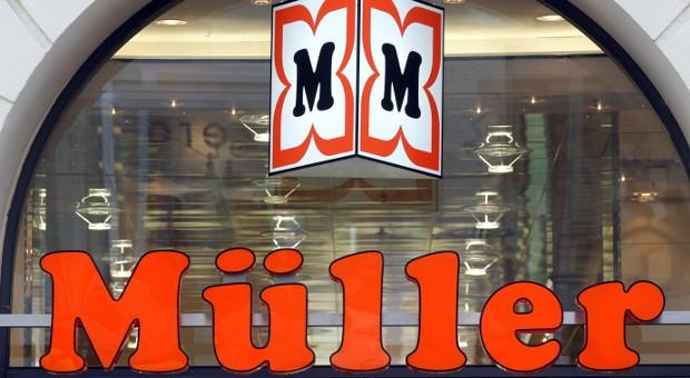 Ansicht des Logos und des Schriftzugs der Drogeriemarktkette Müller