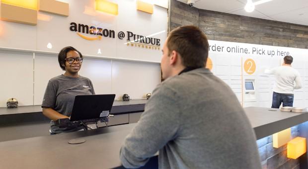 Die erste Bestell- und Rückgabe-Station von Amazon an der Purdue University im US-Bundesstaat Indiana.