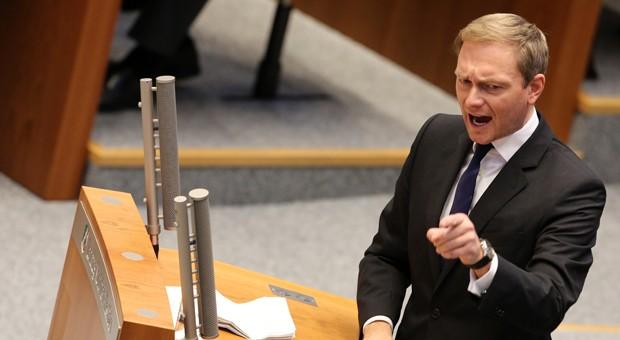 FPD-Chef Christian Lindner bei seiner umstrittenen Wutrede im Landtag in NRW.