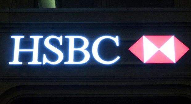 Der Schriftzug an einer Niederlassung der HSBC Bank in Zürich.