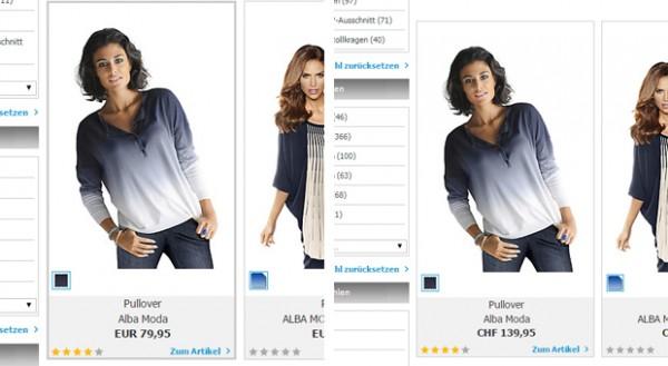 Im deutschen Online-Shop von Heine kostet der blau-weiße Pullover 79,95 Euro. Nach dem aktuellen Wechselkurs müsste er  rund 85 Schweizer Franken kosten. Stattdessen müssen Schweizer Frauen 139,95 CHF hinlegen.