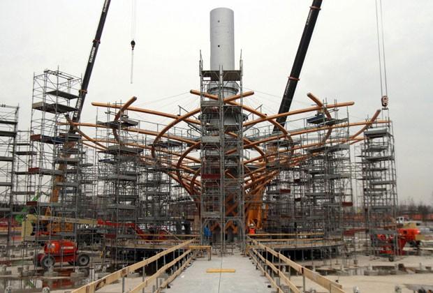 Im Mai soll die Expo in Mailand beginnen - bis dahin ist noch einiges zu tun. Im Bild: die Baustelle des italienischen Pavillons.