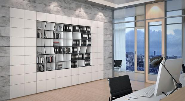 Individuell gefertigte Möbelstücke wie dieses Regal sind die Spezialität von Okinlab.