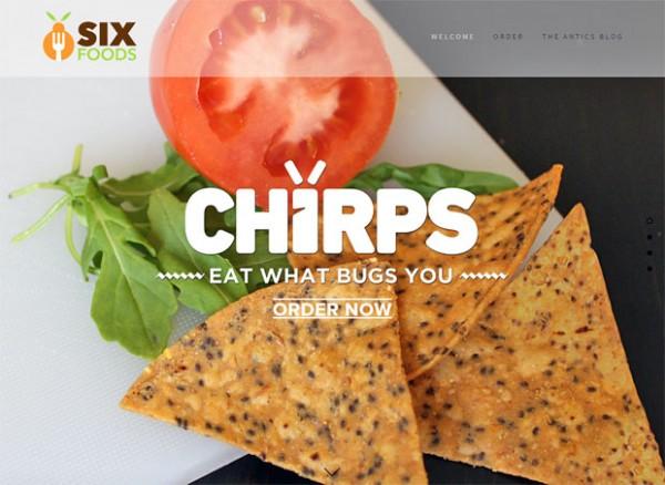 """Die Website von Six Foods: Nach dem Feedback der Kickstarter-Nutzer sind die Chirps"""" nun hell."""