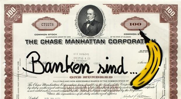 """Die Bankenkrise kommentiert der """"Bananensprayer"""" Thomas Baumgärtel in der ihm eigenen Art."""