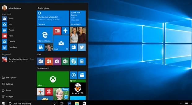 Der Startscreen von Windows 10.