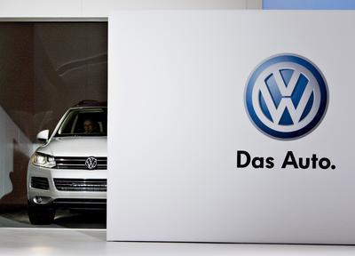 """Stets gut sichtbar bei VW-Präsentationen ist der Slogan """"Das Auto""""."""
