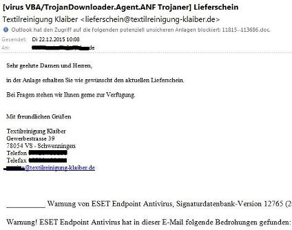Diese Phishing-E-Mail erreichte die impulse-Redaktion, angeblicher Versender: die Textilreinigung Klaiber.