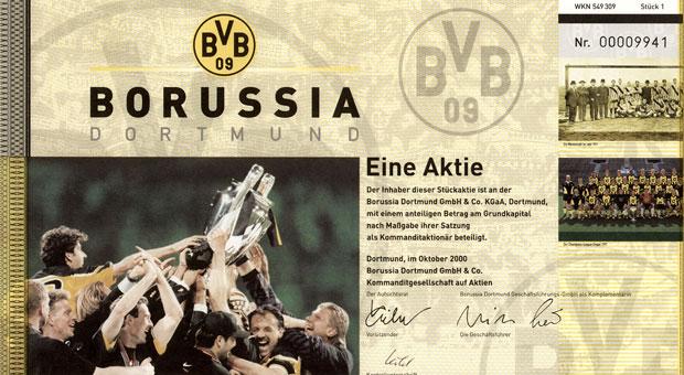 Tafelpapiere wie dieses  von Borussia Dortmund sind für viele Liebhaber ein besonderes Anlageobjekt.
