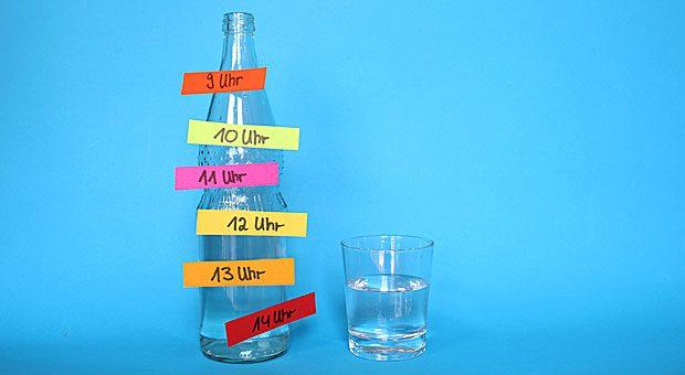 Man sollte mindestens zwei Liter Wasser am Tag trinken. Doch im Büro geht das schnell unter. Markieren Sie einfach Ihre Wasserflasche mit Uhrzeiten - so vergessen Sie das Trinken garantiert nicht.