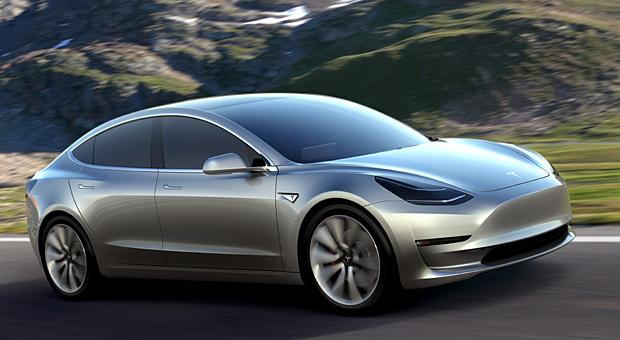 Massenelektrifizierung: Mehr als 400.000 Kunden sollen das Model 3 von Tesla bereits vorbestellt haben. In den USA soll das Elektroauto 35.000 Dollar kosten.