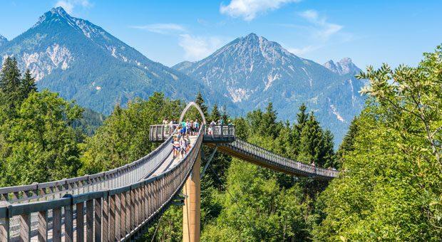 Der Baumkronenweg in Ziegelwies führt von Bayern nach Tirol in Österreich.