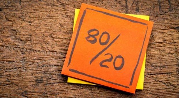 Das Pareto-Prinzip funktioniert nach der 80/20-Regel: Es besagt, dass man 80 Prozent des Ergebnisses mit 20 Prozent des Aufwands erreichen kann.