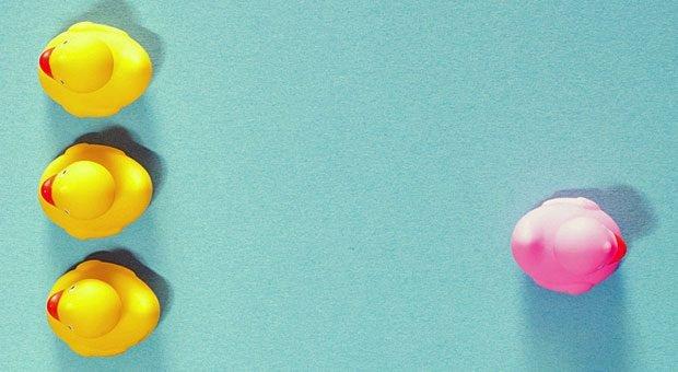 Die Haltung der gelben Enten ist deutlich: Pinke Enten unerwünscht! Diskriminierung dieser Art in Stellenanzeigen ist riskant.