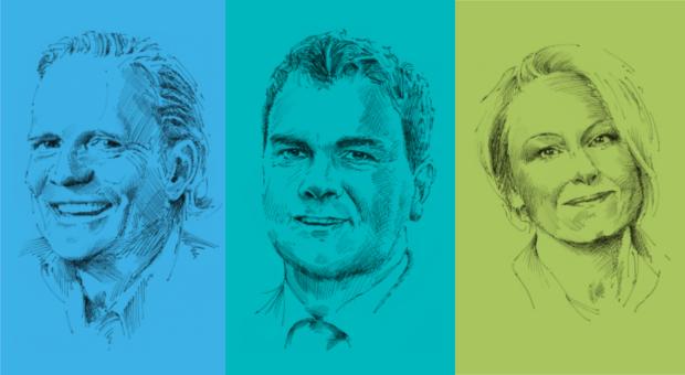 Für sie hat sich impulse ausgezahlt: die Unternehmer Axel Stürken, Stefan Baasner und Heike Leinhäuser.