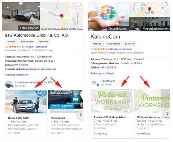 Beispiele für Google Beiträge in Google My Business